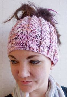 Knitting Pattern for Atalanta Bun Beanie - The spiral rib pattern on this ponytail hat is a simple 6 stitch repeat.