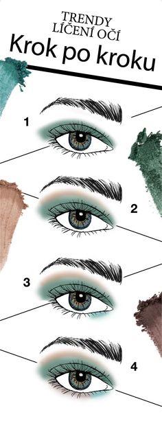 Vytvořte si své trendy líčení s paletkou odstínů Emerald Noir z nové kolekce Midnight Jewels! 1. Rozetřete tmavě zelený odstín po celém víčku. 2. Zlatavý odstín rozetřete podél nadočnicových oblouků. 3. Světle zelený odstín naneste do vnitřních koutků očí.  4. Matným hnědým odstínem orámujte vnější spodní linii řas.