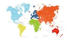 Children's Brightly Coloured World Map Poster A2 by midmadmoduk, £25.00