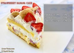 Bean wants a Strawberry Banana Sponge Cake for his bday! Strawberry Banana Cakes, Banana Sponge Cake, E Juice Recipe, Kinds Of Pie, Light Cakes, Sponge Cake Recipes, Fruit Jam, Different Cakes, Pie Cake