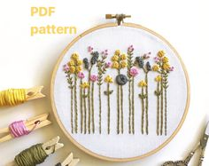 Hand Embroidery Digital Pattern, DIY Floral Hoop Art, Wildflowers PDF, Embroidered Flowers, Stitching Guide, Printable, Instant Download