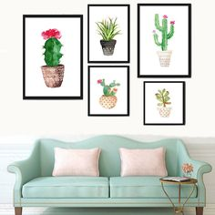 Green Plants Watercolor Painting Country Style Background Wall Décor Unframed #ebay #Home & Garden