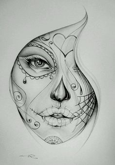 Chicano Girl Face Tattoo Sketch – Pin Store – Drawing Tattoos – … - Famous Last Words Sugar Skull Mädchen, Sugar Skull Girl Tattoo, Girl Face Tattoo, Girl Face Drawing, Face Tattoos, Girl Tattoos, Sleeve Tattoos, Drawing Drawing, Face Art