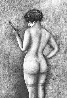 "Drawing, pointillism. ""Stockings"""