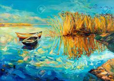 15209806-Original-oil-painting-of-boats-beautiful-lake-and-Fern-rush-on-canvas-Sunset-over-ocean-Modern-Impre-Stock-Photo.jpg (1300×926)