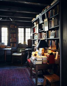 This is what Martha's office would look like. Filled with books, a lamp, and windows facing the skyline