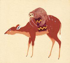 Sloth on a deer!