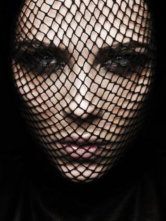 Fishnets over face ~ great Halloween idea