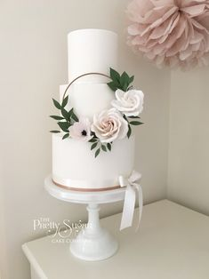 Copper, blush sugar floral hoop wedding cake