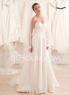 Wedding Dresses - $189.69 - A-Line/Princess Sweetheart Chapel Train Chiffon  Satin Wedding Dresses With Ruffle (002012908) http://jjshouse.com/A-line-Princess-Sweetheart-Chapel-Train-Chiffon--Satin-Wedding-Dresses-With-Ruffle-002012908-g12908