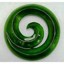 New Zealand Greenstone (Jade) in koru pattern