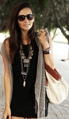 The Amity Company Taupe Women's Boho Fringe Mesh Vest by Coohuco ~ Love the necklace!