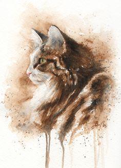 Amy cat Cat watercolors by Braden Duncan
