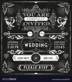 Vintage Wedding Invitation Vector Image by benbranham