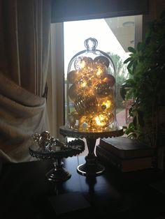 Lit up baubles - creates lantern effect.