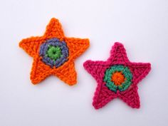 1pc 3.75 Crochet BRIGHT STAR Applique by PinkMeStudio on Etsy