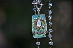 Handmade Enamel Necklace Antique Findings by souhernsistersjewels, $48.00