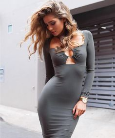 Square Long Sleeve Solid Bodycon Mid-Calf Club Dress