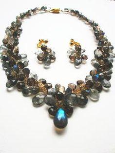 Statement necklace labradorite、black rutile quartz