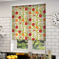 Blomma Tangerine Roller Blind White Roller Blinds, Drapery Designs, Kitchen Blinds, Kitchen Fabric, Valance Curtains, Decorating Your Home, New Homes, House, Neutral Tones
