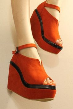 Peep Toe Wedged Sandals - make the wedge smaller definitely.  I like the ankle strap + the small notch in the top