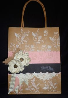 Vintage Gift Bag made using Stampin Up Products.