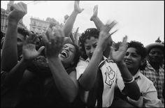 Havana, Cuba.  1959.  Crowds celebrating the liberation of Havana in the main plaza. By Burt Glinn