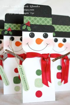 Envelope punch board snowman party favor www.carriestamps.com