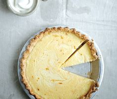 Lemon Buttermilk Pie with Saffron Recipe | Epicurious.com