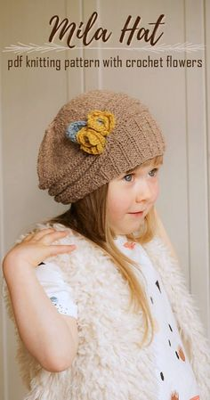 fc7865e2fb7 What a gorgeous classic hat! Beautiful knitting pattern for this slouchy  cloche style beanie. Love the crocheted flowers too!