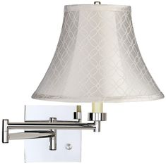 Possini Euro Design Modern Swing Arm Wall Lamp Chrome Plug-In Light Fixture Off White An Qing Bell Shade Bedroom Bedside Reading Swing Arm Wall Lamps, Designer Shades, Modern Wall Sconces, Lamp Design, Light Fixtures, Modern Design, Wall Lights, Chrome Finish, Bedside