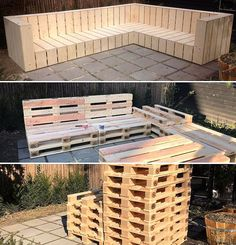 DIY wooden pallets garden L shaped couch # pallet furniture - Pallet Projects Garden Pallet Garden Furniture, Pallets Garden, Wood Pallets, Pallet Wood, Free Pallets, Bed Furniture, Furniture Ideas, Luxury Furniture, Outdoor Furniture