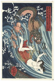 Recovering the Stolen Jewel from the Palace of the Dragon King by Kuniyoshi (1797 - 1861)
