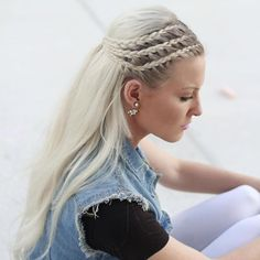 Long Ash Blonde Hairstyle With Three Braids