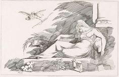 Slapende vrouw met Cupido, Johann Heinrich Füssli, Robert Pollard (I), 1780 - 1790