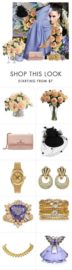 """""""Mayfair Brunch"""" by jokaren ❤ liked on Polyvore featuring New Growth Designs, Nearly Natural, Salvatore Ferragamo, Rolex, Christian Dior and Accessorize"""