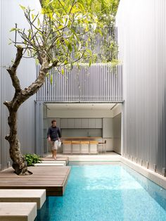 courtyard pool with feature tree contemporary stepping stones and decking || ONG&ONG Corporate