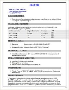 Cv Format For Fresher Computer Engineer Cv Format For Fresher