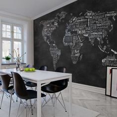 Niezwykła fototapeta na ścianę Mapa świata. Razem z Rebel Walls odmienimy Twoje wnętrze. Dining Table, Studio, Wallpapers, Furniture, Home Decor, Living Room, Decoration Home, Room Decor, Dinner Table