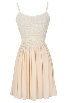 Peace and Love Crochet Floral Lace Dress in Cream