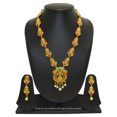 Gold Plated Lakshmi Necklace Designs, Gold Plated Long Lakshmi Necklace Designs.