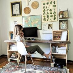 office with eclectic gallery wall. DIY crate desk via office with eclectic gallery wall. DIY crate desk via Katherine Home Office Space, Home Office Design, Home Office Decor, Home Decor, Office Ideas, Vintage Office Decor, Vintage Home Offices, Apartment Office, Office Rug
