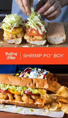Shrimp Po'boys Shrimp marinated in hot sauce and breaded in a spiced cornmeal mixture are fried then piled high for this classic New Orleans sandwich. Creole Recipes, Cajun Recipes, Fish Recipes, Seafood Recipes, Cooking Recipes, Fried Shrimp Recipes, Haitian Recipes, Louisiana Recipes, Donut Recipes