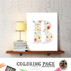letter B baby nursery art floral monogram by coloringpage on Etsy