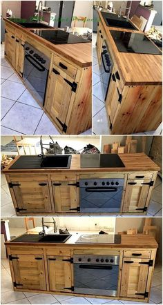 Revamp the inside region of your fantasy home by planning such an awesome wooden kitchen project. This is containing two delightful racks and extensive countertop that are agreeable and a wonderful pallets project that is making this furnishings the total Wooden Pallet Furniture, Wooden Pallets, Furniture Plans, Diy Furniture, Furniture Stores, Furniture Movers, Furniture Repair, Furniture Outlet, Antique Furniture