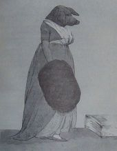 Elegantly dressed woman with a pig's head
