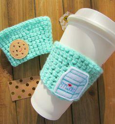 Cookies and Milk Crochet Coffee Cozy  Best Friend by Legit2Stitch