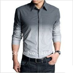 Men's Long Sleeve Shirt with Color Block Panel | Pinterest for Men ...
