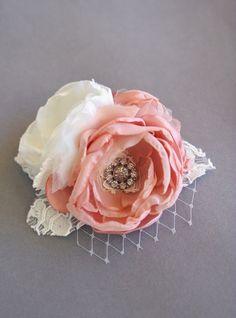 Bridal Silk Flower Hairpiece Flower Sash Pin by BelleBlooms
