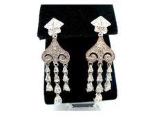 Long Rhinestone Chandelier Earrings ~ Dangling Deardrops by MarlosMarvelousFinds, $35.00
